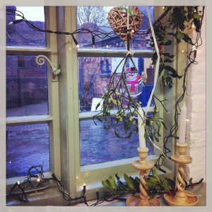 Christmas window at Red House Glass Cone, Catfox